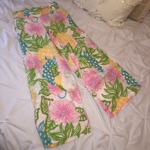 Lilly Pulitzer Gia Pants RARE Fruit Floral Linen